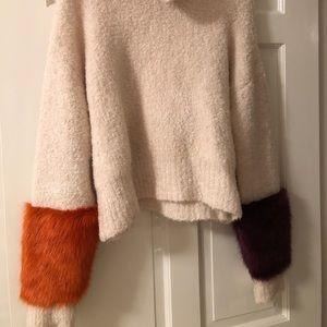 Zara Cream Fuzzy Sweater w/ color faux fur sleeves